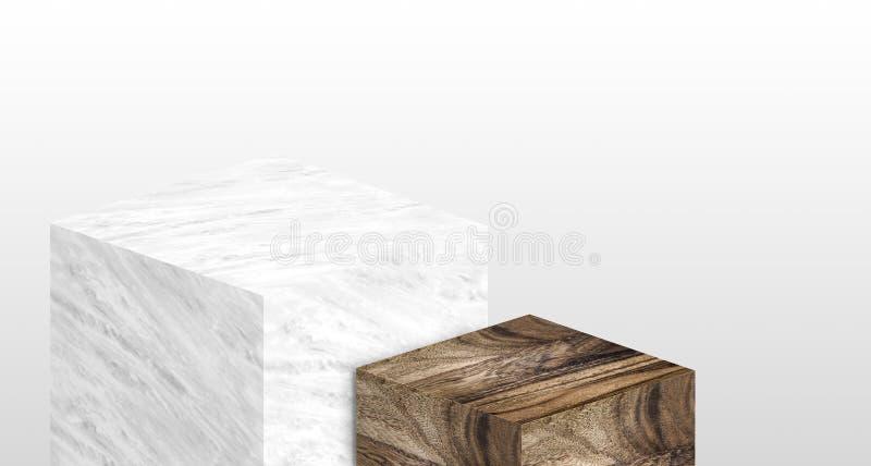 产品由白色光滑的大理石和木头做的陈列台  皇族释放例证