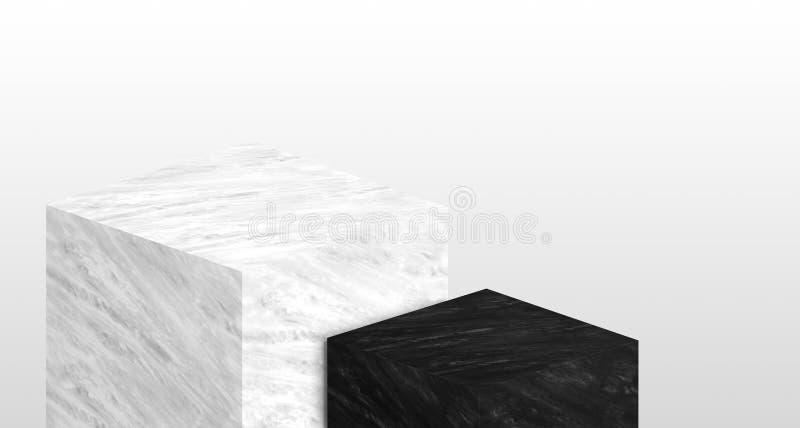 产品由白色和黑大理石层数做的陈列台  向量例证