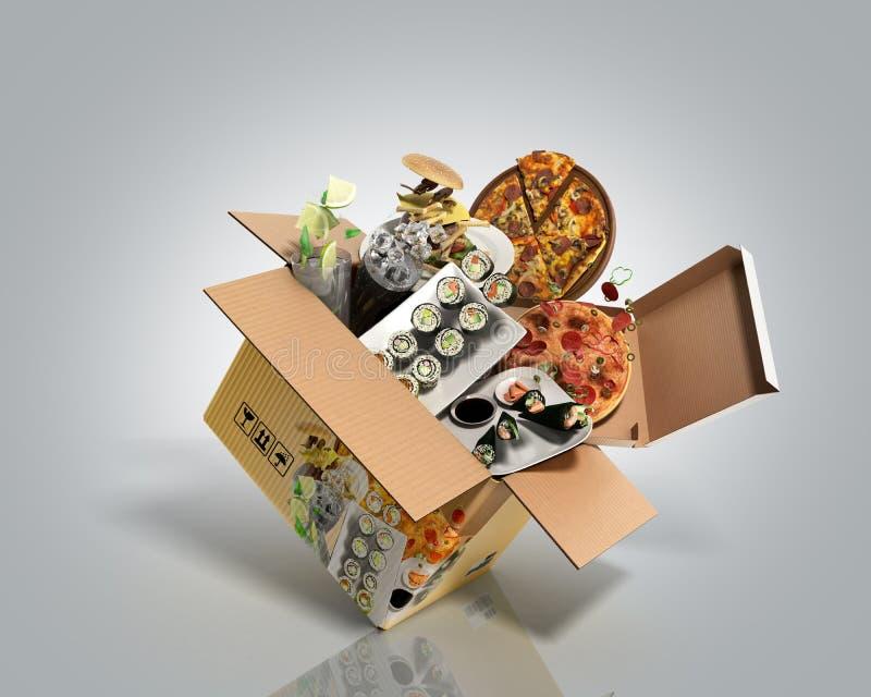 产品类别在箱子3d外面的食物蝇的概念回报在灰色梯度背景 皇族释放例证