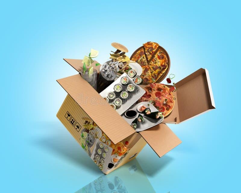产品类别在箱子3d外面的食物蝇的概念回报在蓝色梯度背景 库存例证