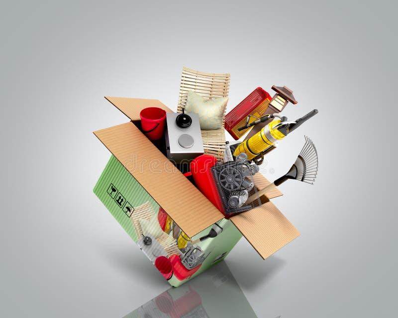 产品类别的概念在灰色背景从事园艺辅助部件飞行在箱子3d外面回报 库存例证