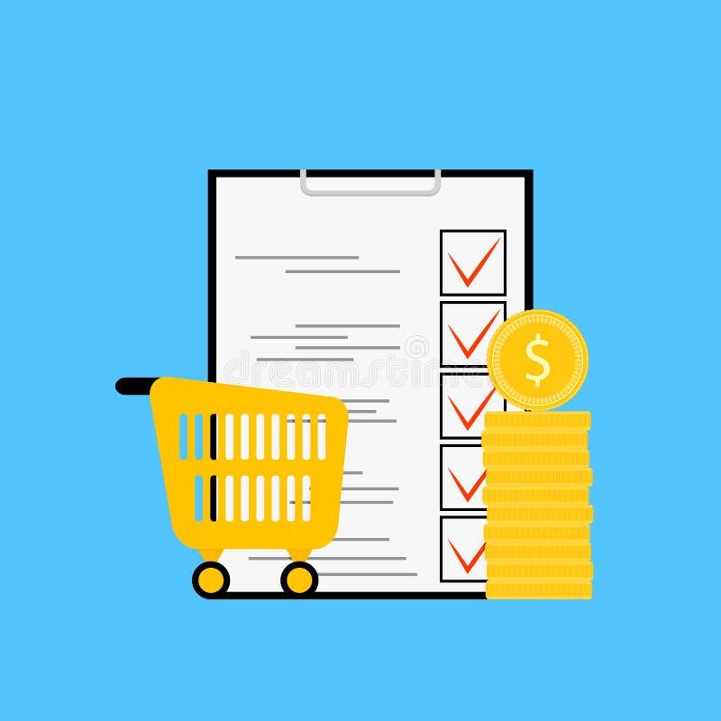 产品预算和名单 库存例证