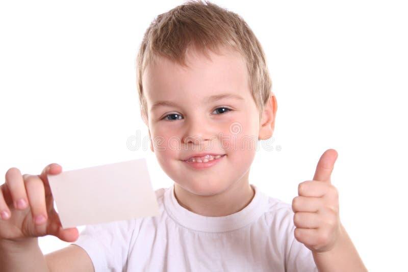 产生好的文本的男孩看板卡 库存图片
