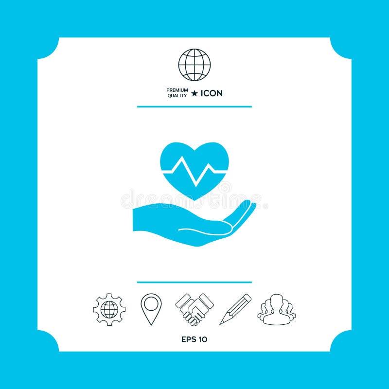 产生现有量重点藏品的日接受s华伦泰 黑色更改图标肝脏医疗保护白色 向量例证