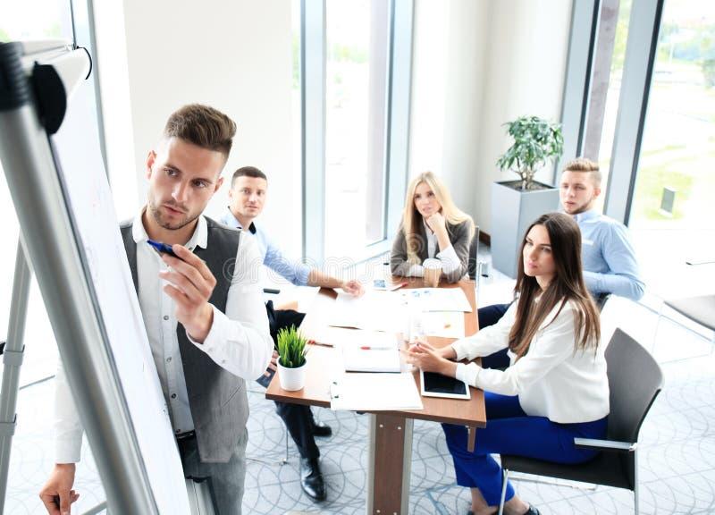 产生介绍的生意人 免版税图库摄影