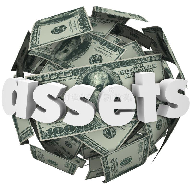 财产词金钱球形球价值净值财富 向量例证