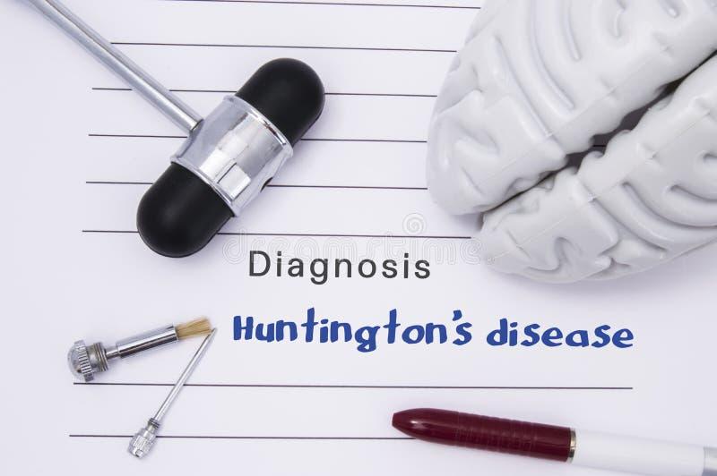 亨廷顿` s疾病神经学诊断  神经学锤子,人脑形象,为敏感性测试的工具在tabl 库存图片