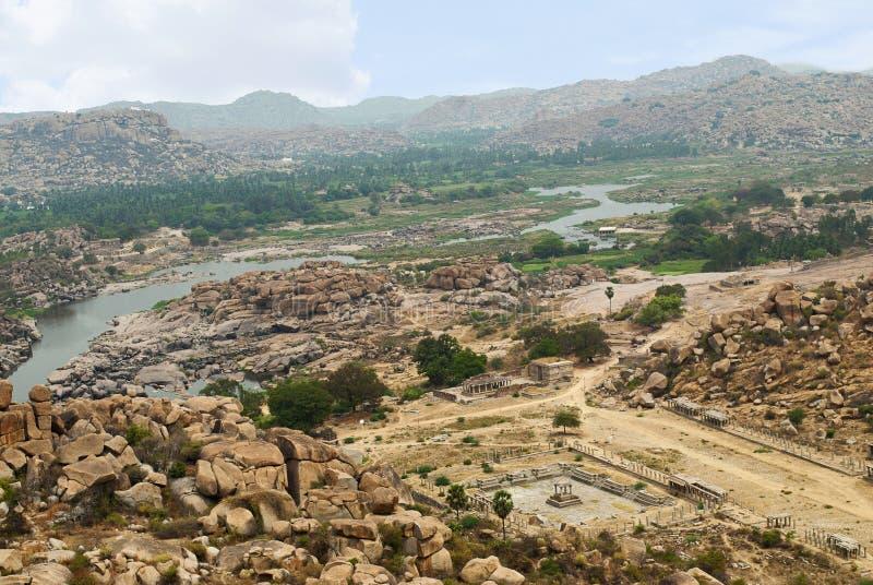 亨比,亨比,卡纳塔克邦东北地区的Arieal视图从Matanga小山的 图库摄影
