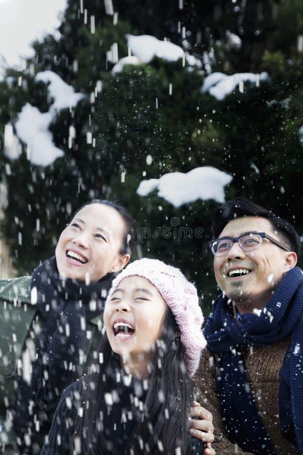 享受一多雪的天的家庭 免版税库存图片