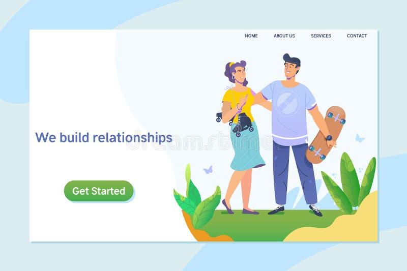 享受一天的愉快的年轻夫妇在公园 一起 关系,网上约会,社会网络概念 向量 库存例证