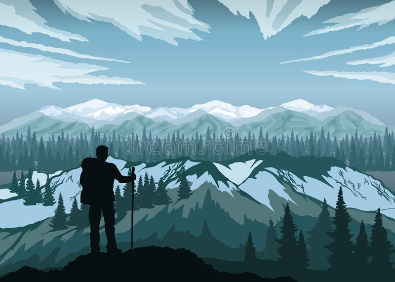 享受与山、森林和天空的远足者风景 高加索dombay山山峰 皇族释放例证