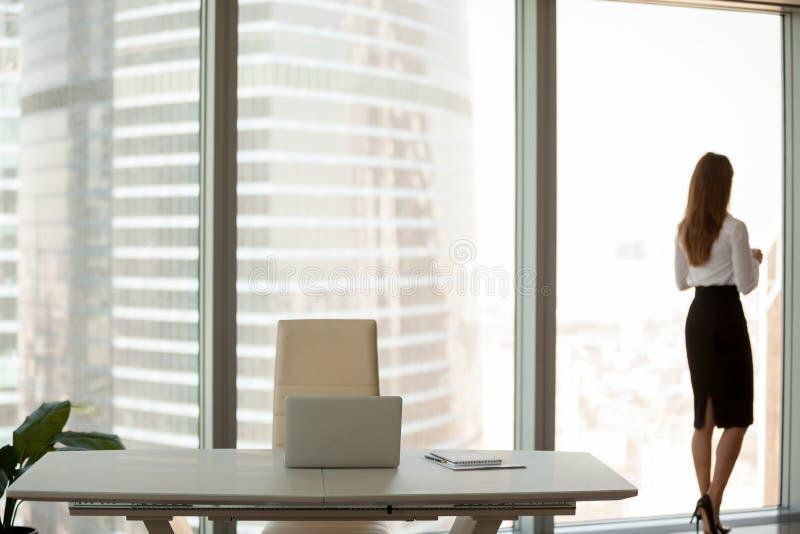 享受从大办公室窗口的成功的女实业家看法 免版税库存照片