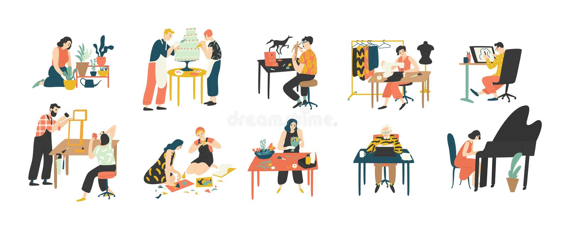 享受他们的爱好-家庭从事园艺的人的汇集,烹饪,缝合,画,纸拼贴画做 库存例证