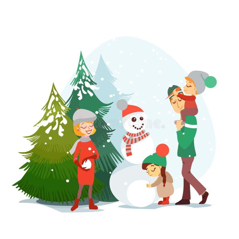 享受冬天假期的逗人喜爱的动画片家庭在冬天森林里 皇族释放例证