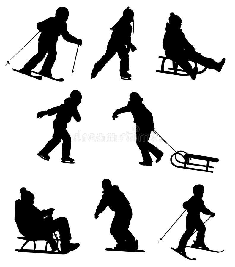 享受冬季体育的孩子 向量例证