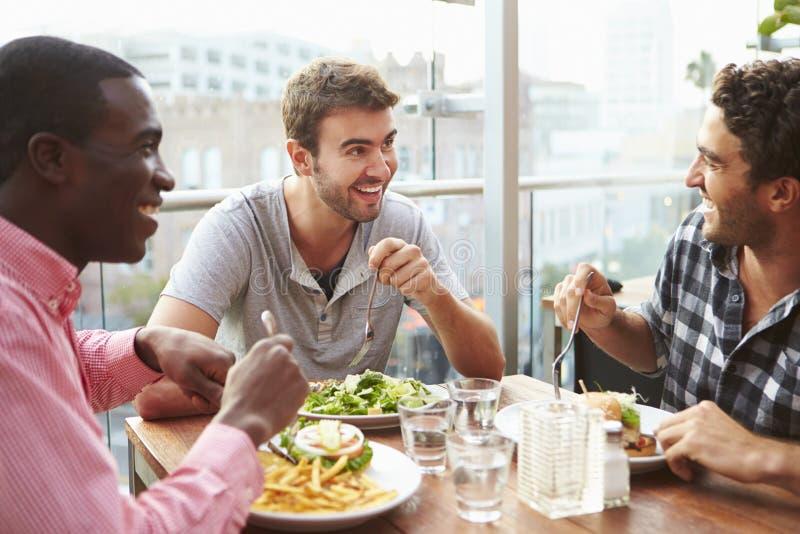享受午餐的三个男性朋友在屋顶餐馆 免版税库存照片