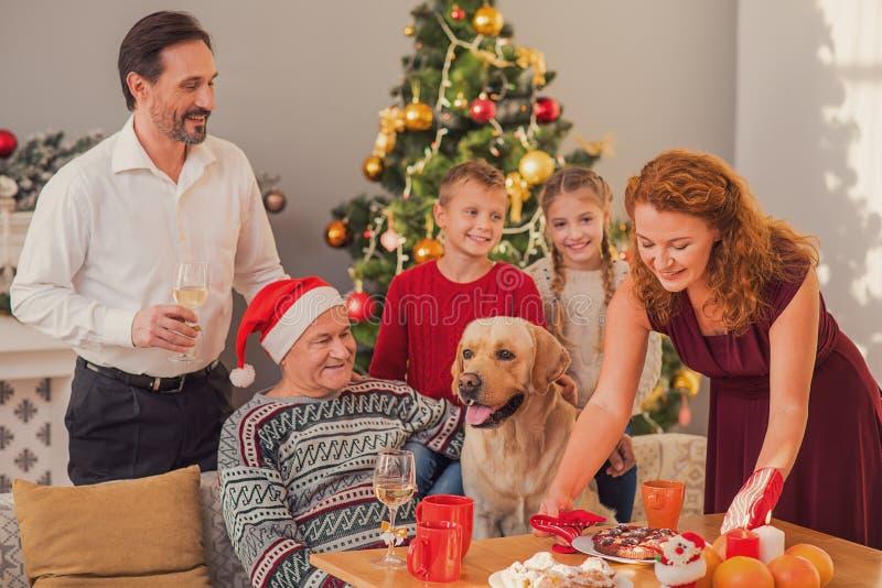 享受圣诞晚会的快乐的亲戚 库存照片