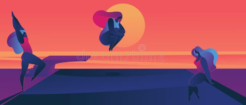 享受在水池的过大的妇女日落 平的例证得出与生动的梯度 跳在太阳前面的妇女 向量例证