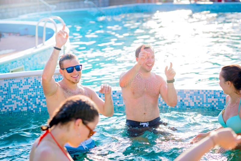 享受在游泳池的愉快的朋友夏令时 免版税库存图片