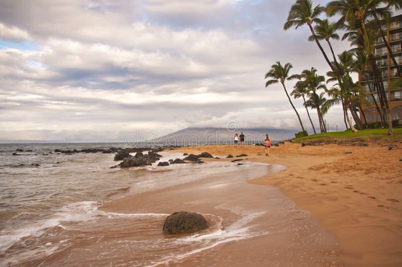 享受在Keawakapu海滩毛伊夏威夷的夫妇日落 免版税库存照片