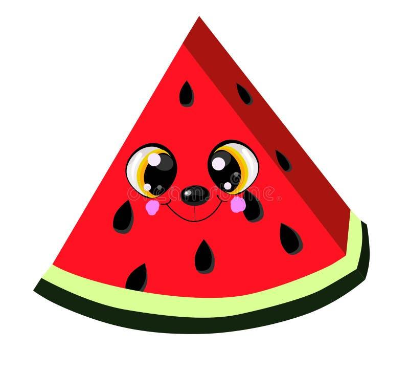 享受夏季的逗人喜爱的动画片西瓜 库存例证
