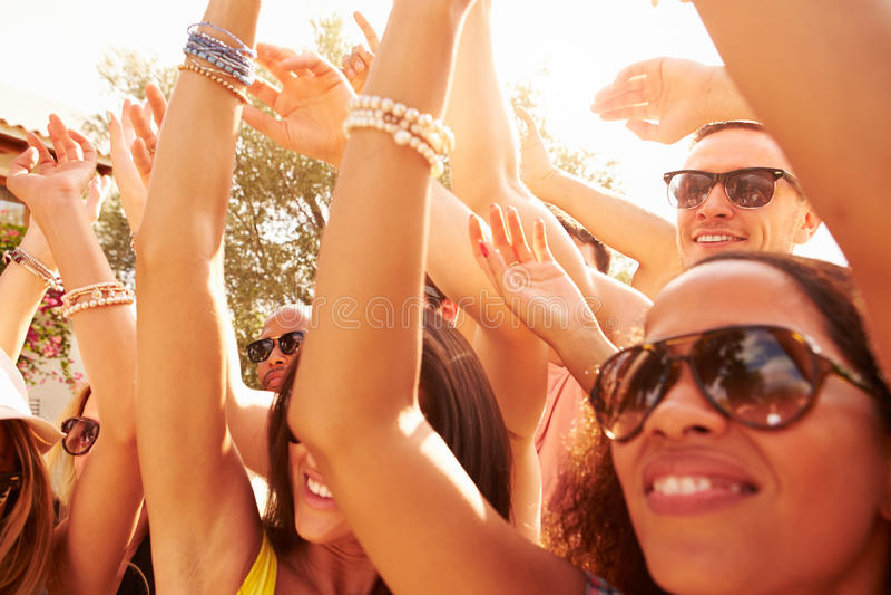 享受室外音乐节的小组青年人 库存图片