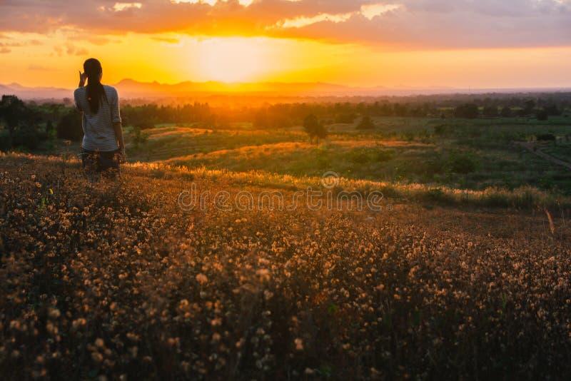 享受幸福、自由和自然的愉快的自由的妇女 库存图片