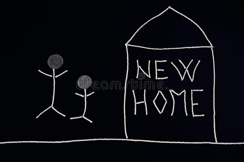 享受新的家,异常的概念的家庭 库存图片