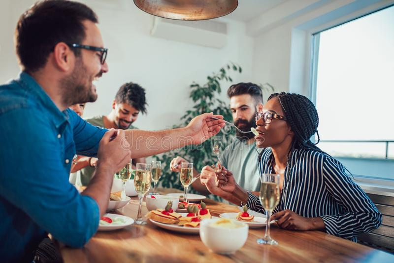 享受晚餐会的小组不同种族的朋友 免版税库存图片