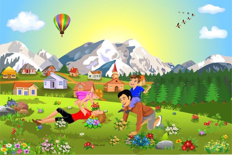 享受暑假和业余时间的愉快的家庭 库存例证
