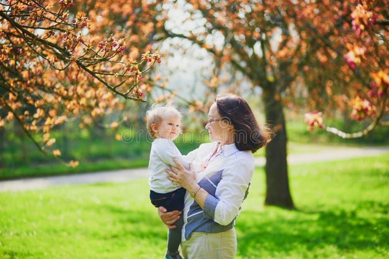 享受樱花季节的祖母和孙女 图库摄影