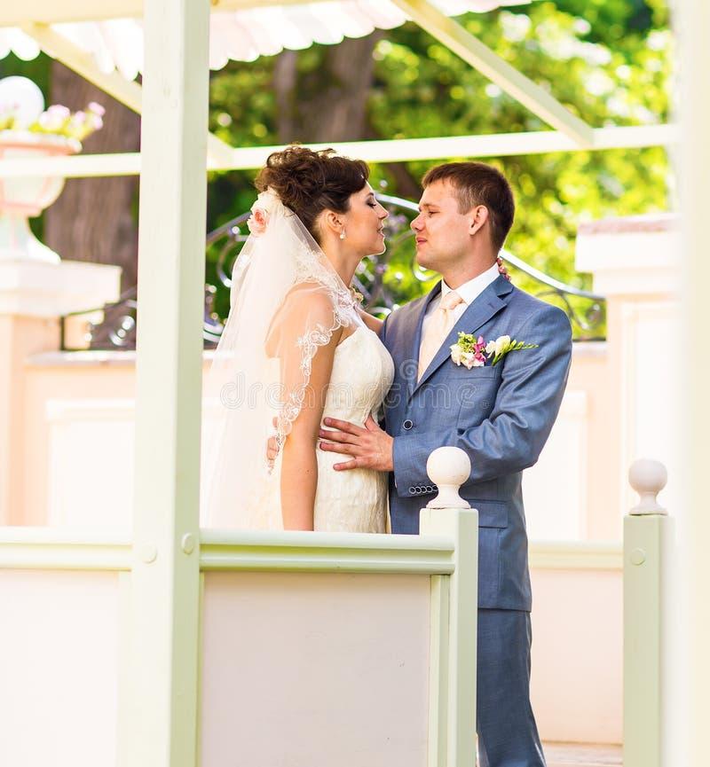 享受浪漫片刻的年轻婚礼夫妇 免版税图库摄影