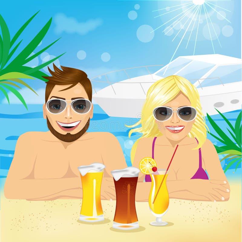 享受海滩假日的年轻愉快的夫妇 库存例证