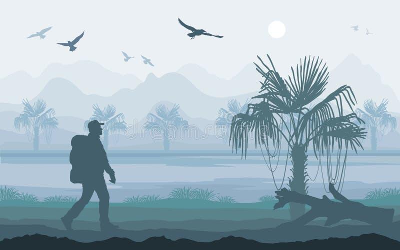 享受热带风景,山峰的远足者 皇族释放例证