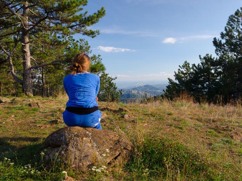 享受看法的十几岁的女孩在山顶部 库存图片