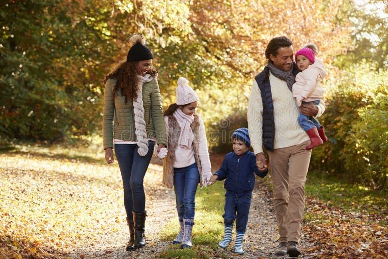 享受秋天步行的家庭正面图在乡下 免版税库存图片