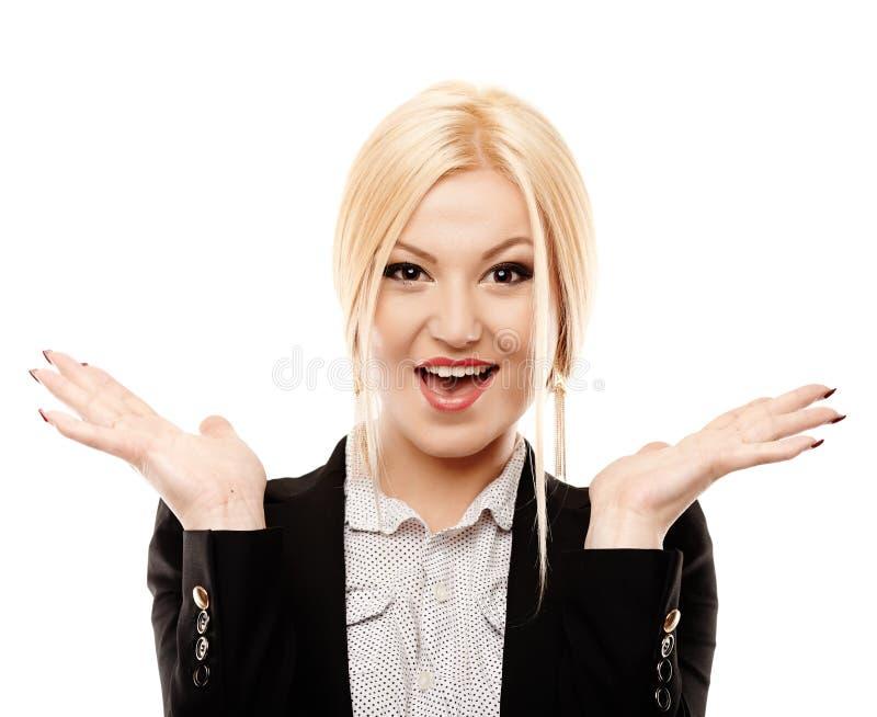 享受胜利的快乐的女实业家 免版税库存图片