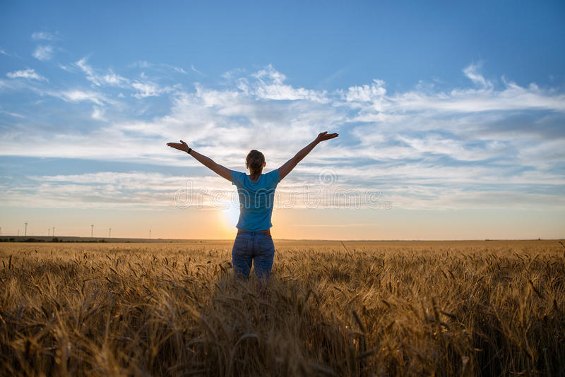 享受自然和自由的自由的愉快的妇女室外 有胳膊的妇女在日落的一块麦田伸出 图库摄影