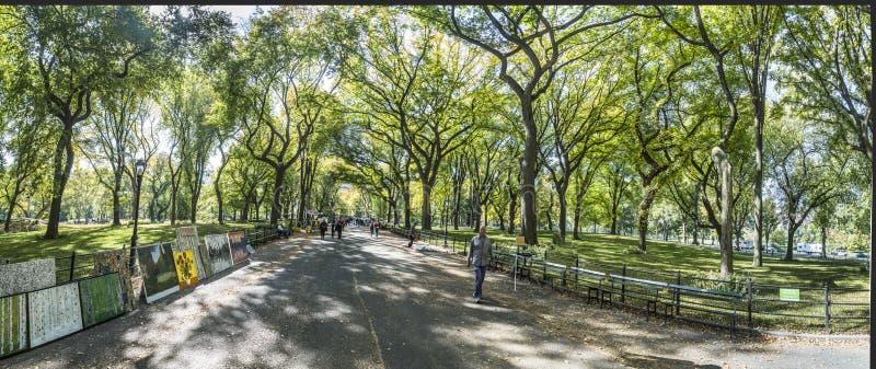 享受走的人们在中央公园 免版税库存照片