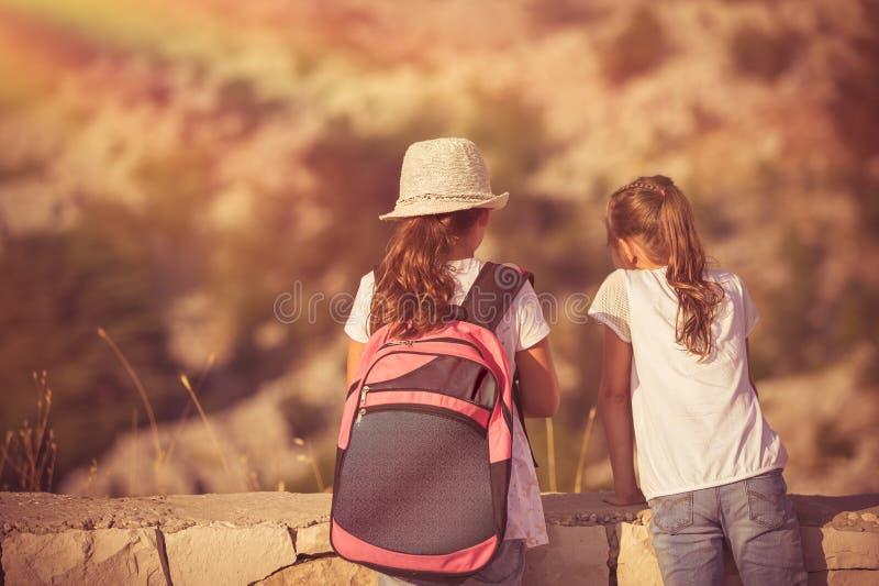 享受远足的孩子 免版税库存照片