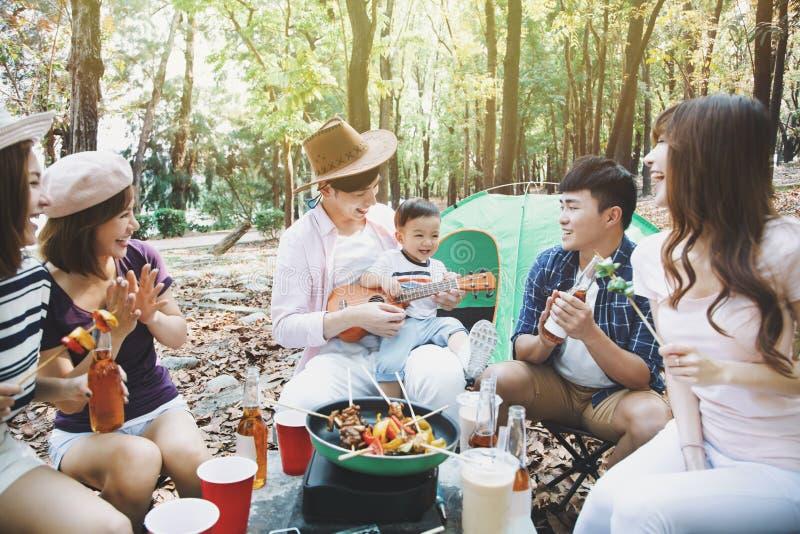 享受野餐党和野营的年轻朋友小组 免版税图库摄影