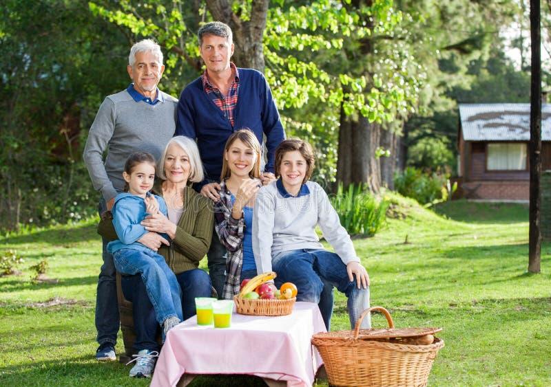 享受野餐的多一代家庭在公园 免版税图库摄影