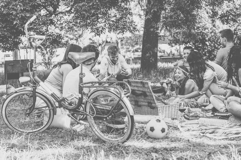 享受野餐的小组朋友,当一起时吃和喝红酒在乡下-获得愉快的人民乐趣 图库摄影