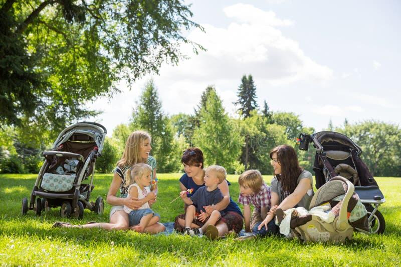 享受野餐的母亲和孩子在公园 免版税库存照片