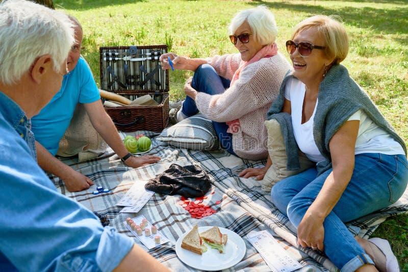 享受野餐的资深人民在公园 免版税库存照片