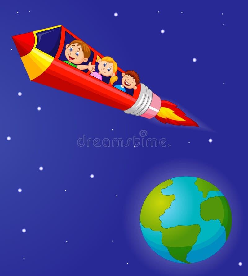 享受铅笔火箭队乘驾的小学生 向量例证