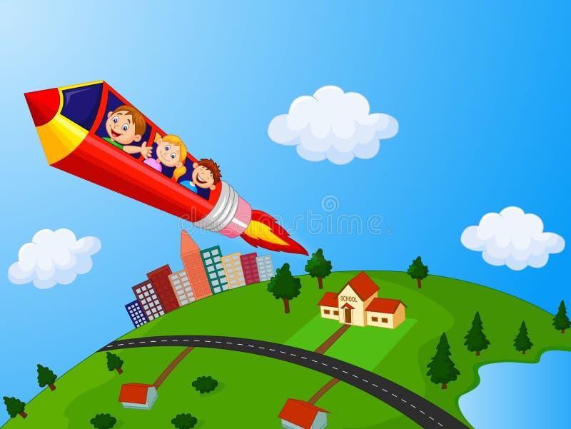 享受铅笔火箭队乘驾的小学生 库存例证