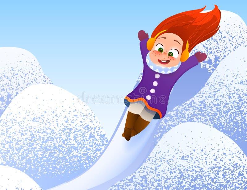 享受雪橇乘驾的小女孩 儿童sledding 乘坐爬犁的小孩孩子 户外儿童游戏在雪 向量例证