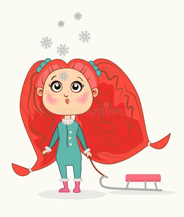 享受雪橇乘驾的小女孩 向量例证
