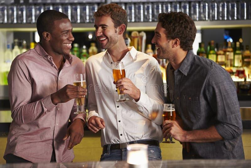 享受饮料的三个男性朋友在酒吧 免版税图库摄影